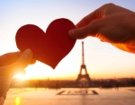 heart in hands, loving couple in Paris, France