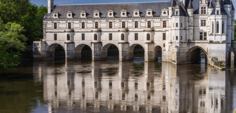 Chenonceau castle, on the Cher river. Built in 1513 by Thomas Bohier and his wife, Katherine Briçonnet. It was notably extended by Diane de Poitier who added a bridge over the Cher (left bottom part) and by Catherine de Médicis who covered it with a gallery, giving that very recognisable shape to the castle, and an access to it from both banks of the Cher.