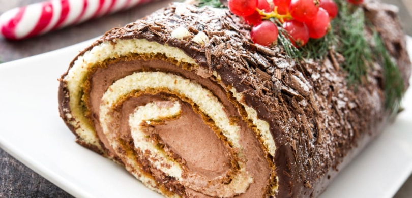 Typical French Christmas cake Bûche de Noël