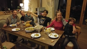 happy students with family students restaurant French Lessons in Dordognein Immersion