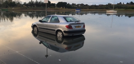 car under water tide brittany learn frenchtoday
