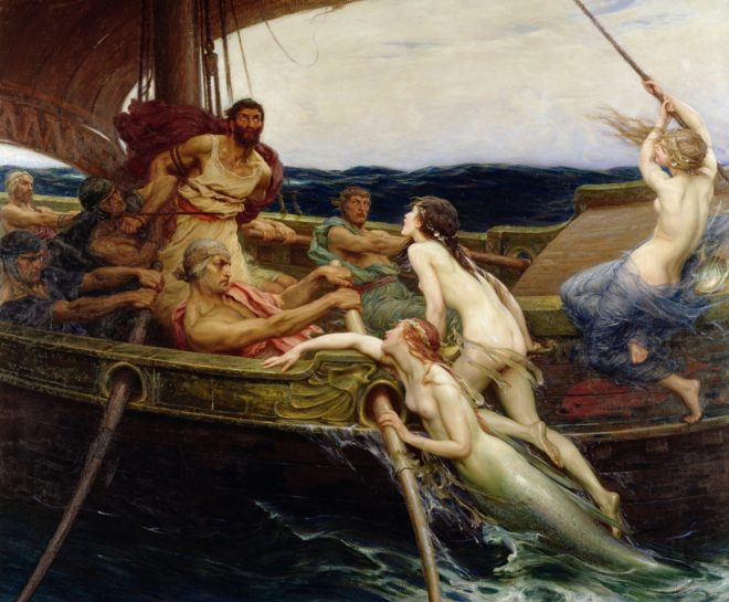 Ulysses and the Sirens, 1909 (oil on canvas) by Draper, Herbert James (1864-1920)