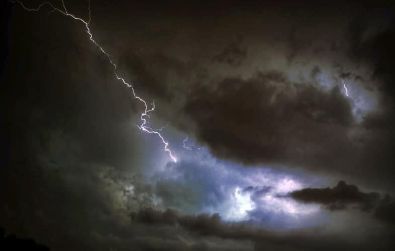 lightning in dark skies