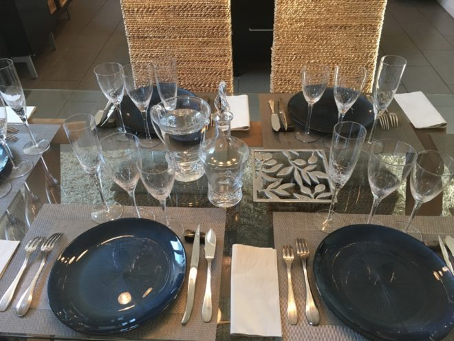 pictures of glasses at a french table