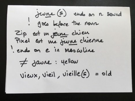 french flaschcard - write more than just one word on it