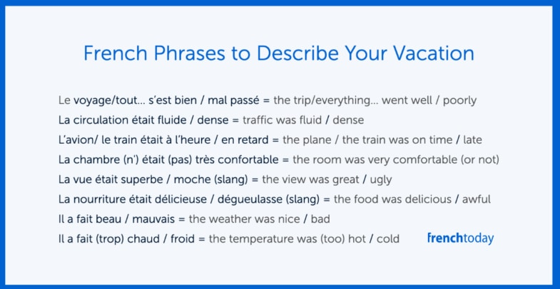 vacation french phrases poster