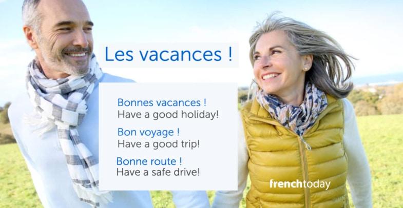 happy senior couple + French vacation vocabulary