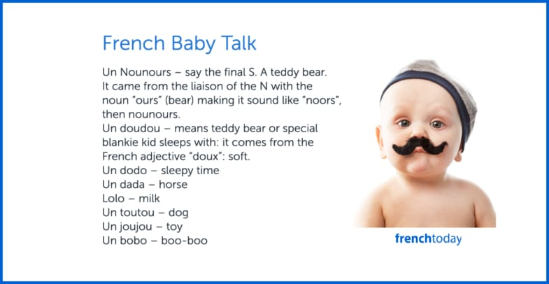 French baby with a moustache + first baby words in French
