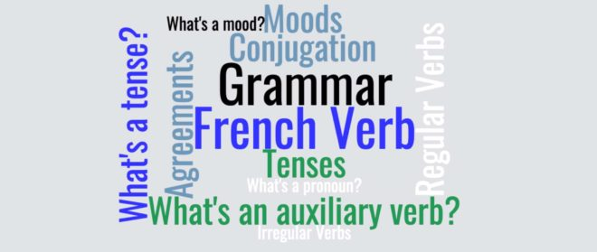 word cloud French grammar terms