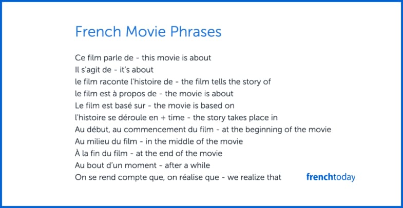 poster with french movie phrases