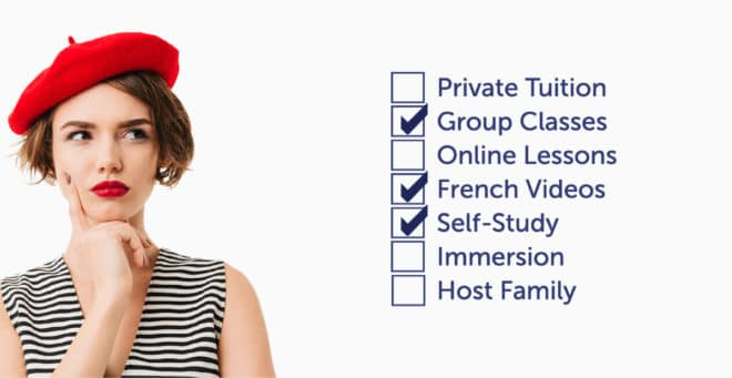 French woman checking the various French learning methods