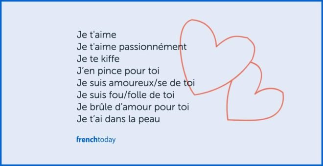 poster: several ways to say I love you in French