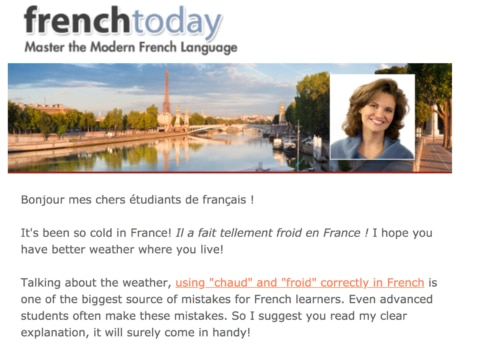 Screenshot of the French Today Newsletter