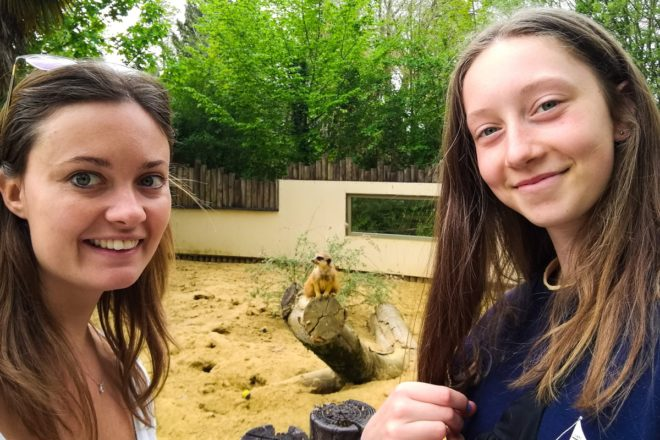 Eliane and student in zoo