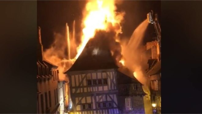 french fire in Dinan Brittany France