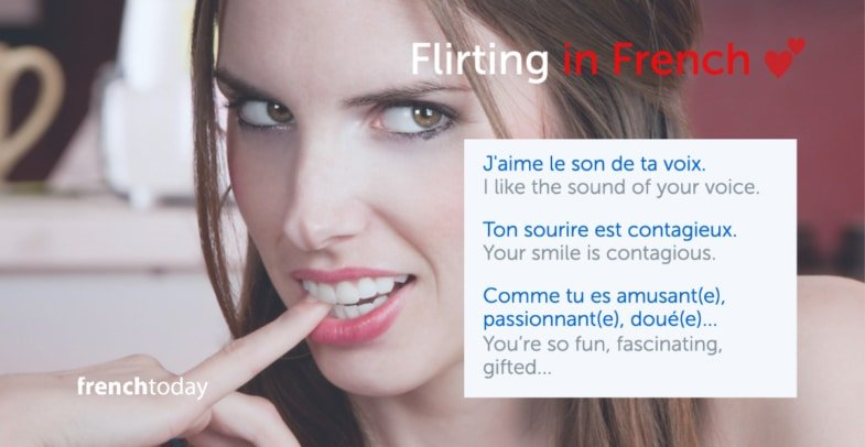 Woman with a flirty look + sentences to flirt in French