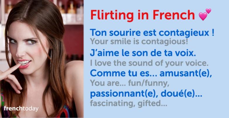 Woman flirting + Flirting in French sentences