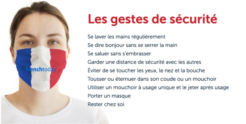 woman wearing french flag mask + safety virus gestures in French