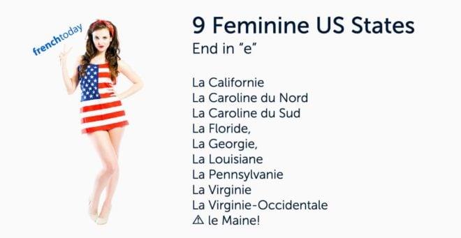 Woman wearing American flag dress + list of feminine states