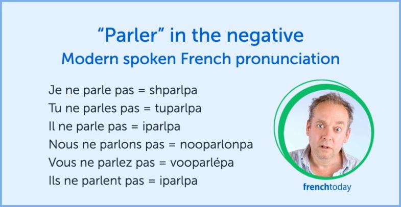 modern spoken pronunciation of parler in the negative