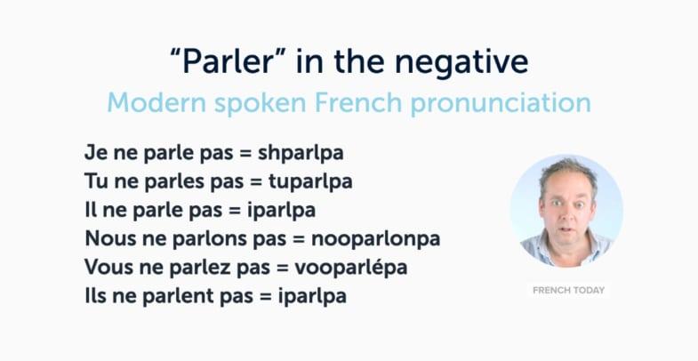 spoken pronunciation of French verb in negative