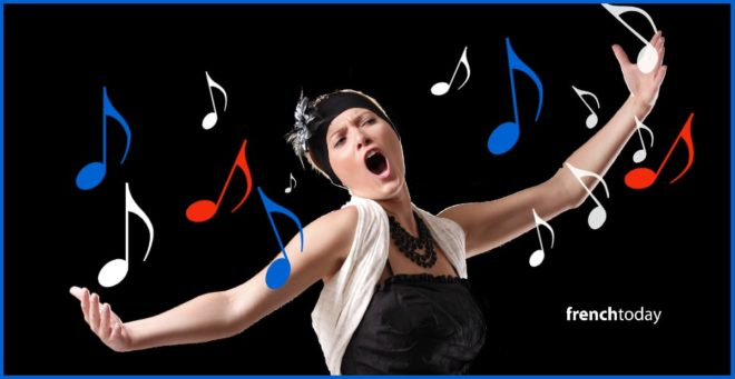 woman singing french color music notes