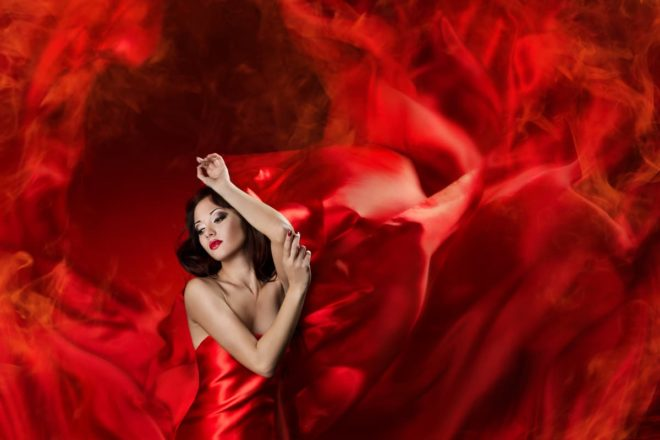 woman in red flame like dress