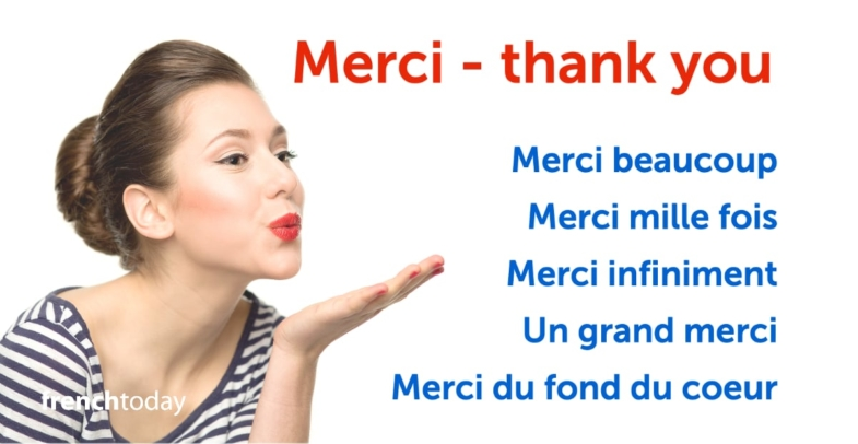 French woman saying thank you in French + several other ways of saying merci