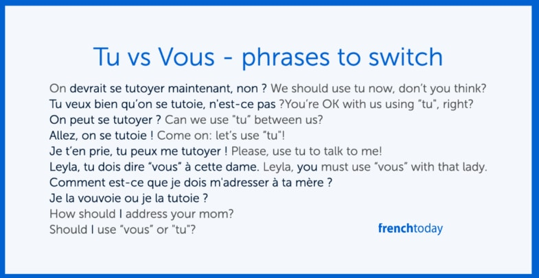 French phrases to switch from vous to tu
