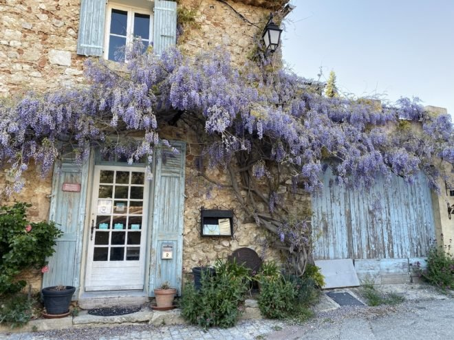 beautiful orange stone house with light blue shutters and wisteria in Provence France