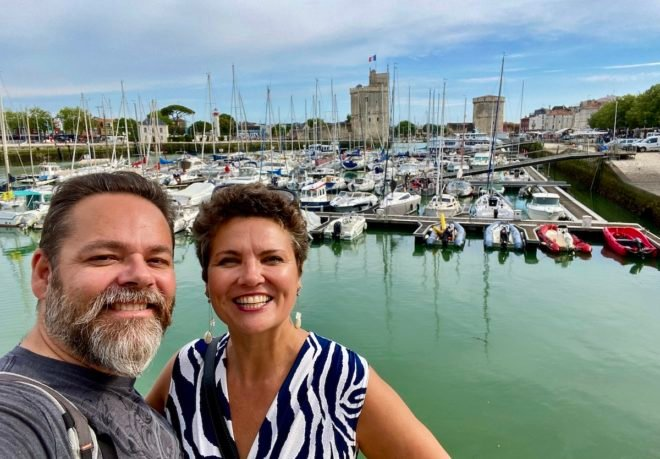 Olivier and Camille La Rochelle harbor